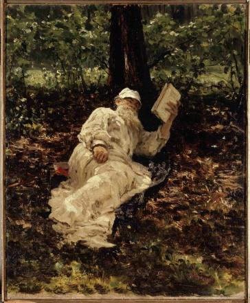 leon-tolstoi-descansando-en-el-bosque-retrato-de-ilya-repin
